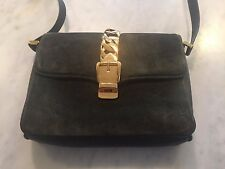 Rare iconic vintage 1970s GUCCI green suede shoulder bag with gold chain detail