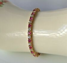 "Solid 14k Yellow Gold Over 5 CT Round Cut Sapphire & Diamond Tennis 7"" Bracelet"