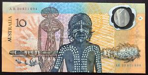 1988 AUSTRALIAN $10 TEN DOLLAR INDIGENOUS BICENTENNIAL BANK NOTE AB30 811 694