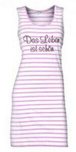 Louis & Louisa - Damen ärmelloses Nachthemd, S, weiß mit rosa Streifen %%%