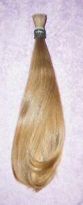 HUMAN HAIR HAIRCUT SILKY FINE BEIGE BLONDE BOTTOM CURL PONYTAIL REBORN DOLLS N85
