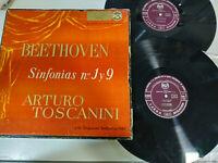 "Beethoven Sinfonias N 1 y 9 Arturo Toscanini - 2 x LP Vinilo 12"" G+/VG Caja"