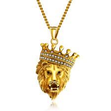 "Men Titanium Stainless Steel Gold Cubic Zircon Crown Lion Head Necklace 22-24"""