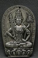 Old China Dynasty Miao Silver Guan Yin Akashagarbha Bodhisattva Pendant Amulet