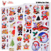5/10pcs Merry Christmas 3D Carton Bubble Sticker Santa Claus Puffy Stickers
