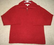 Carolyn Taylor Red Polo Sweater Acrylic Polyester Half-Zip Women's Solid Top