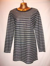 LADIES NWT George 16 NAVY BLUE + GREY STRETCH/STRIPE/SEQUINS/LONG SLEEVED TUNIC