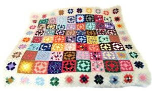 Vintage crocket granny square afghan throw blanket knit 54x46 ivory handmade