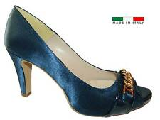 Decoltè Dècolettè open toe scarpe tacco donna raso blu made in Italy