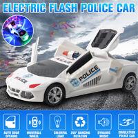 ❤️ Boys Cool Toy Kids Toys Police Car 360° Rotary Wheel Music LED Light