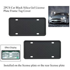 2PCS Black Car Silica Gel License Plate Frame Tag Cover Protection Accessories