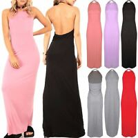 Womens Ladies Backless Halter High Neck Cocktail Evening Party Long Maxi Dress