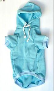 Blue Dog Hoodie Hoody - All Sizes Short Sleeve Sweatshirt Ribbed Cuff & Collar