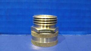 "Brass Garden Hose Swivel Connector 3/4"" Female GHT X 3/4"" Male GHT Hose Fitting"