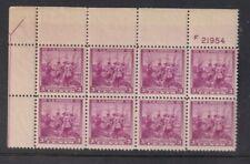 """New ListingUnited States Scott #836 """"Swedish-Finnish Issue"""" 3 Cent Plate Block (8) Mint Nh"""