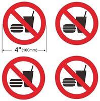 4 Pack NO FOOD Window Door Wall stop drink logo 4'' Dia Sign Decal Sticker