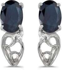 10k White Gold Oval Sapphire & Diamond Earrings E2582W-09