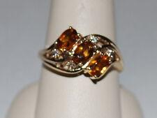 10K Gold ring with Citirine gemstones(November birthstone) and diamonds