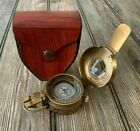 Vintage Solid Brass WWII Military Pocket Compass Gift
