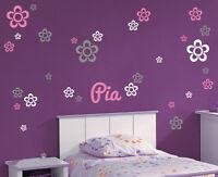 Wunschname + 27 Blumen - Kinderzimmer Deko Baby Name Wandaufkleber WandTattoo