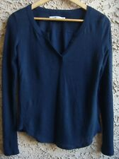 Abercrombie Fitch Womens Blouse V-Neck Top Navy-blue Shirts Size XS