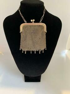ANTIQUE EDWARDIAN SOLID 800 SILVER CHAIN MESH EVENING BAG