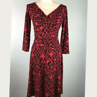 London Times Womens Size 8 Dress Black Red
