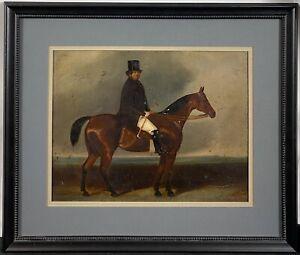 Original 19th C. Charles Bilger Spalding English Portrait Horse & Rider Sporting