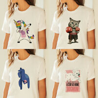 New Women  Funny Animal Cat T-shirts Summer Short sleeve Tees Tops White Cotton