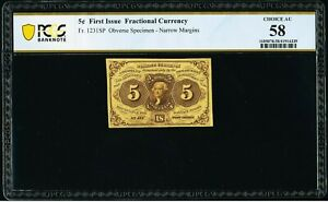 FR 1231spnmf - 5 CENT FIRST ISSUE SPECIMEN - TABACCO FAMILY COLLECTION - PCGS 58