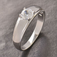 Classic 9K Silver/White Gold Filled Cz Wedding Engagement Ring,Size 6,Z4469