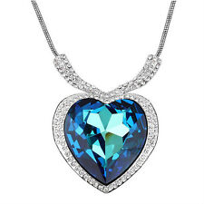 Huge Luxury Heart Of The Ocean Blue Made With Swarovski Crystal Element Necklace
