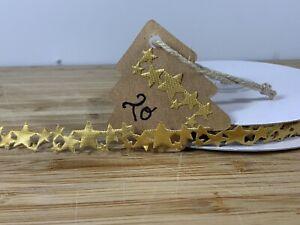 Gold Stars. Metallic Adhesive Backed Christmas Stars. Crafts SOLD PER METER UK