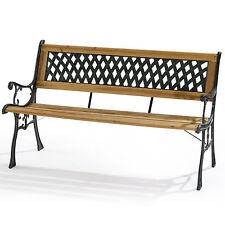 Panchina panca legno acciaio per esterno 122x32 H76 cm arredo giardino casa 2332