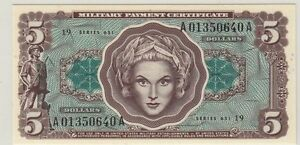 APRIL 28, 1969 ~ $5 ~RARE~ MILITARY PAYMENT CERTIFICATE~ PCGS ~ GEM NEW ~ 65~PPQ