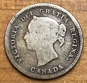 Canada 1880 H Victoria 5 Cent Silver Coin