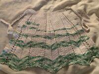 Vintage Women's Crocheted Kitchen Apron, Green & White, Un-Used, Pocket