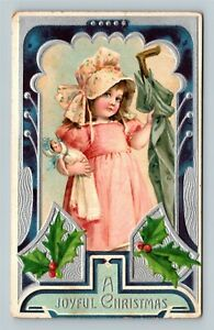 Christmas Greeting - Joy Full Girl in Pink with Doll Vintage c1910 Postcard