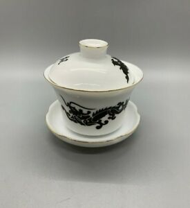 Porcelain Gaiwan Tea Cup with Maroon and Green Dragon Design with Gold Trim