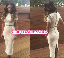 2015 New Woman Ladies Celeb  Nude Lining Sexy Lace Stitching 2 Piece Party Dress