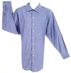 Synrgy Dress Shirt Mens Size 2XLT Blue White Striped 100% Cotton Spread Collar