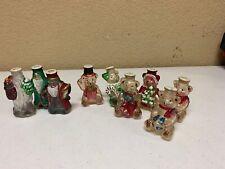 9 Old World Christmas Light Covers Vintage Glass Hand Painted Santa, Bears