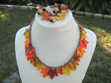 Vintage Celluloid autumn maple leaf necklace and bracelet set