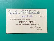 Pikes Peak Colorado Springs CO 1952 1950s Car Summit Vintage Card