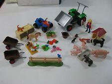 LOTE PLAYMOBIL GRANJA-ANIMALES-TRACTOR-CAMPO-OSO-VALLA-JAULA-CARRETILLA-QUAD
