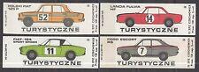 POLAND 1975 Matchbox Label - Cat.G#384/87 set, TOURIST - Rally cars.