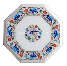 1' White Marble Coffee Table Top Mosaic Carnelian Floral Inlay Home Decors W143
