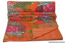 Floral Kantha Quilt Bedding Reversible Handmade Bedspread Twin Size Indian Throw