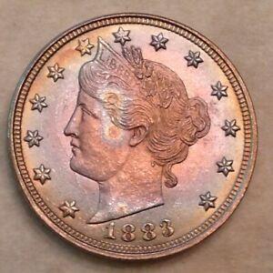 "-1883 Liberty V Nickel Type 1 ""No Cents""  ANACS MS 64 Exquisite Rainbow Toning"