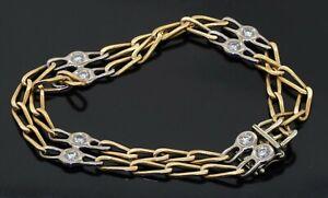 Designer hallmarked heavy 18K 2-tone gold .80CT VS diamond double chain bracelet